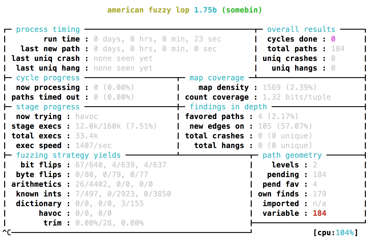 AFL fuzzing status screen